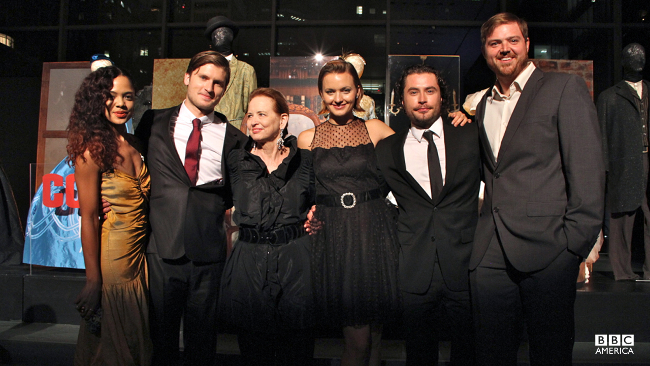 "The cast pose with Delphine White, the genius behind ""Copper""'s authentic 1864 period costumes."