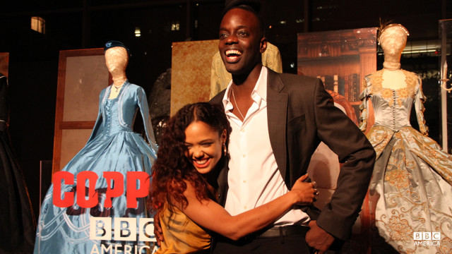 On-screen husband and wife Tessa Thompson and Ato Essandoh hug it out.