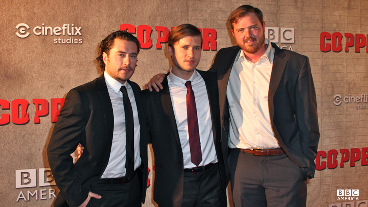 Tom Weston-Jones strikes a pose with his on-screen crime fighting duo, Kevin Ryan and Dylan Taylor.