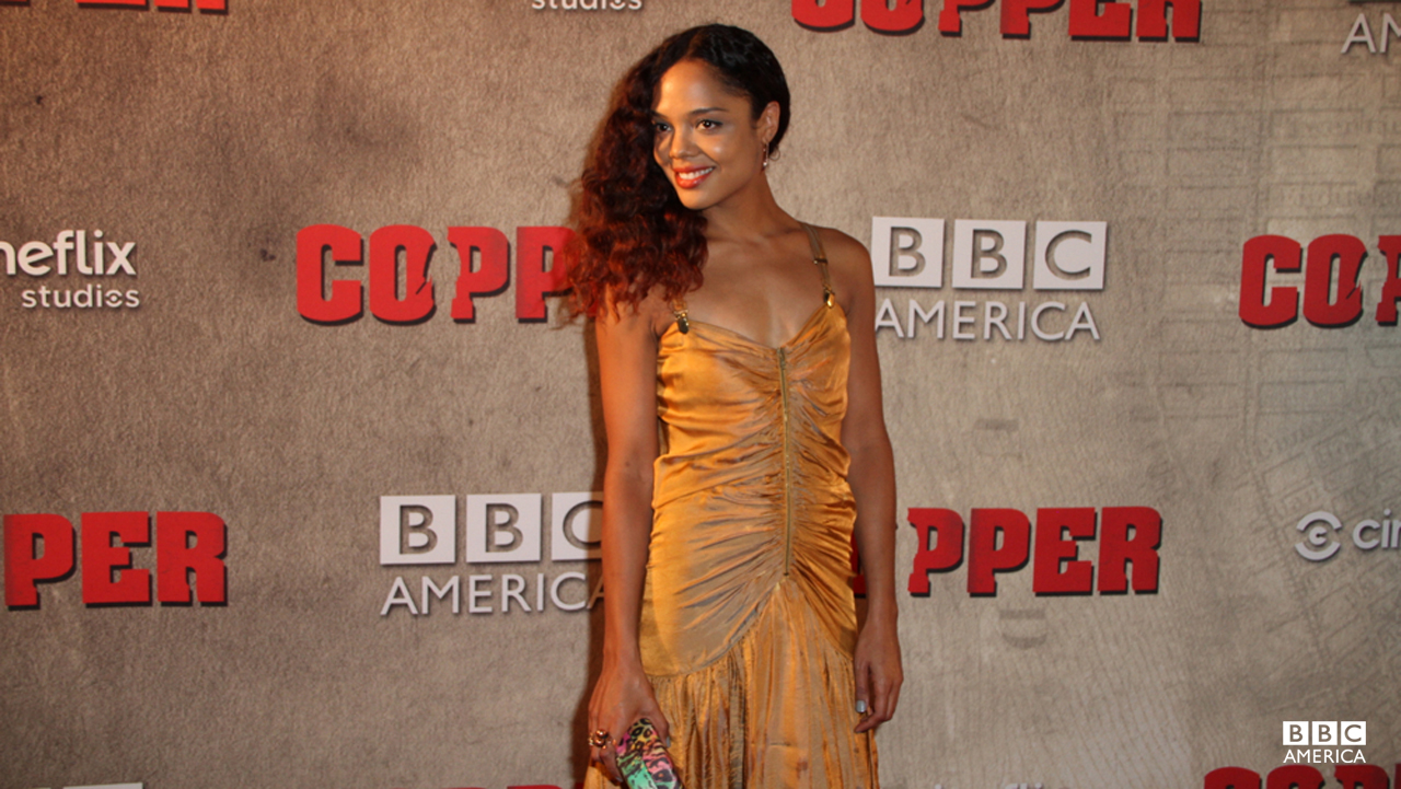 Tessa Thompson, who plays Sara Freeman, wears the perfect color for the occasion!