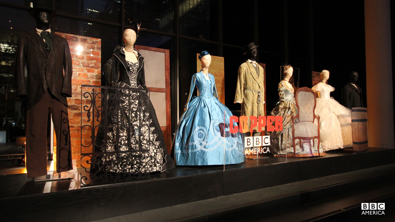 "The gowns and robes of 1864s Manhattan elite get their own display at the ""Copper"" premiere."
