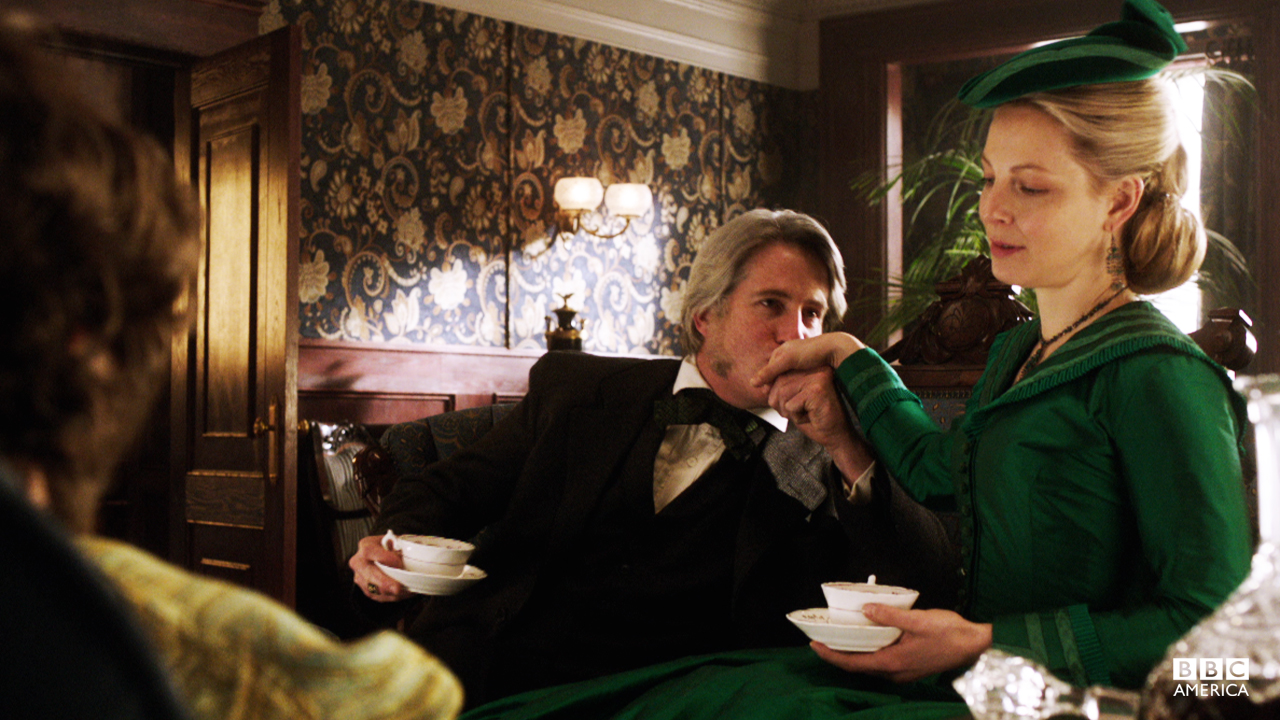 An emerald green gown for tea with an overbearing husband.