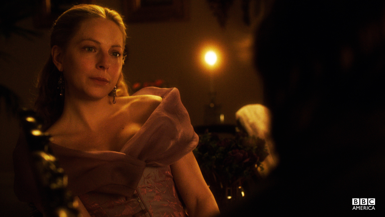 A seductive off-the-shoulder gown for parlor drinks with a very special Detective.