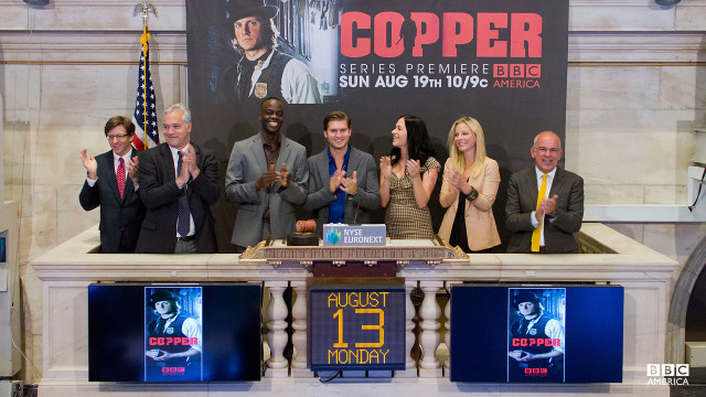 Looks like 'Copper''s stock is definitely up. Tom Weston-Jones, Ato Essandoh, Anastasia Griffith, and Franka Potente visit the New York Stock Exchange to ring The Closing Bell.