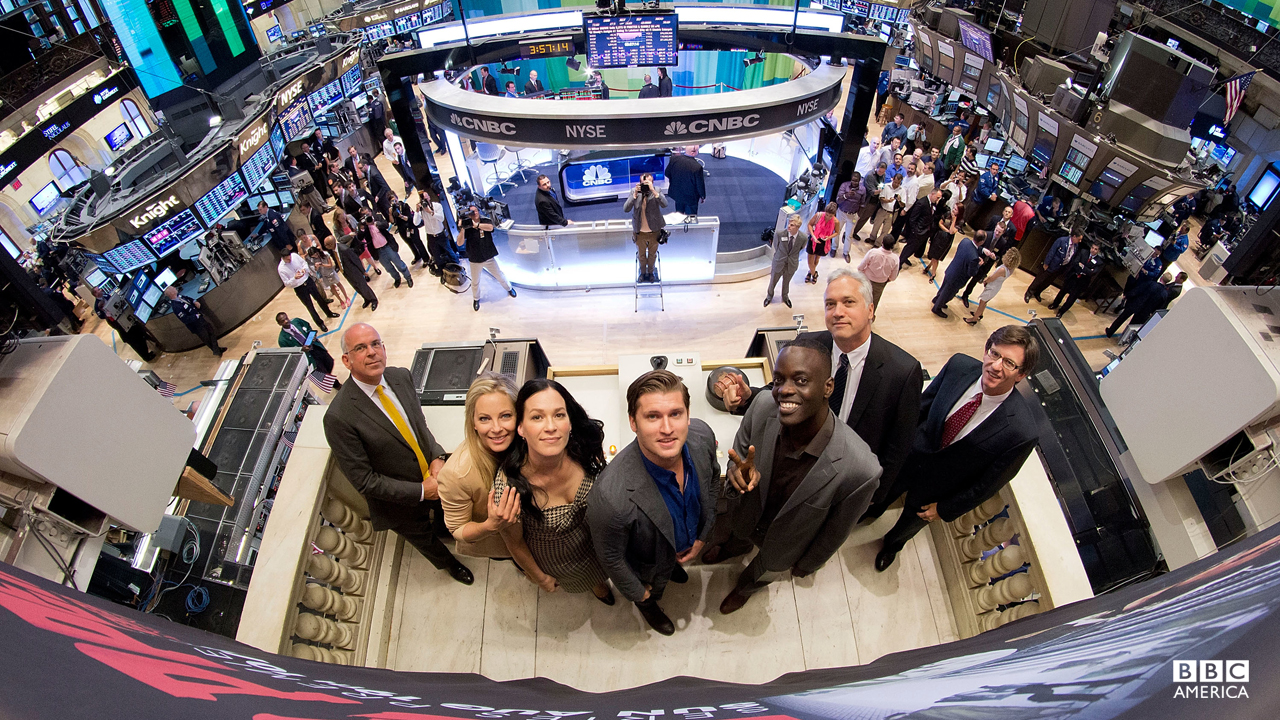 'Copper' stars Tom Weston-Jones, Ato Essandoh, Anastasia Griffith, and Franka Potente stop by the New York Stock Exchange in New York City to ring The Closing Bell on August 13, 2012.