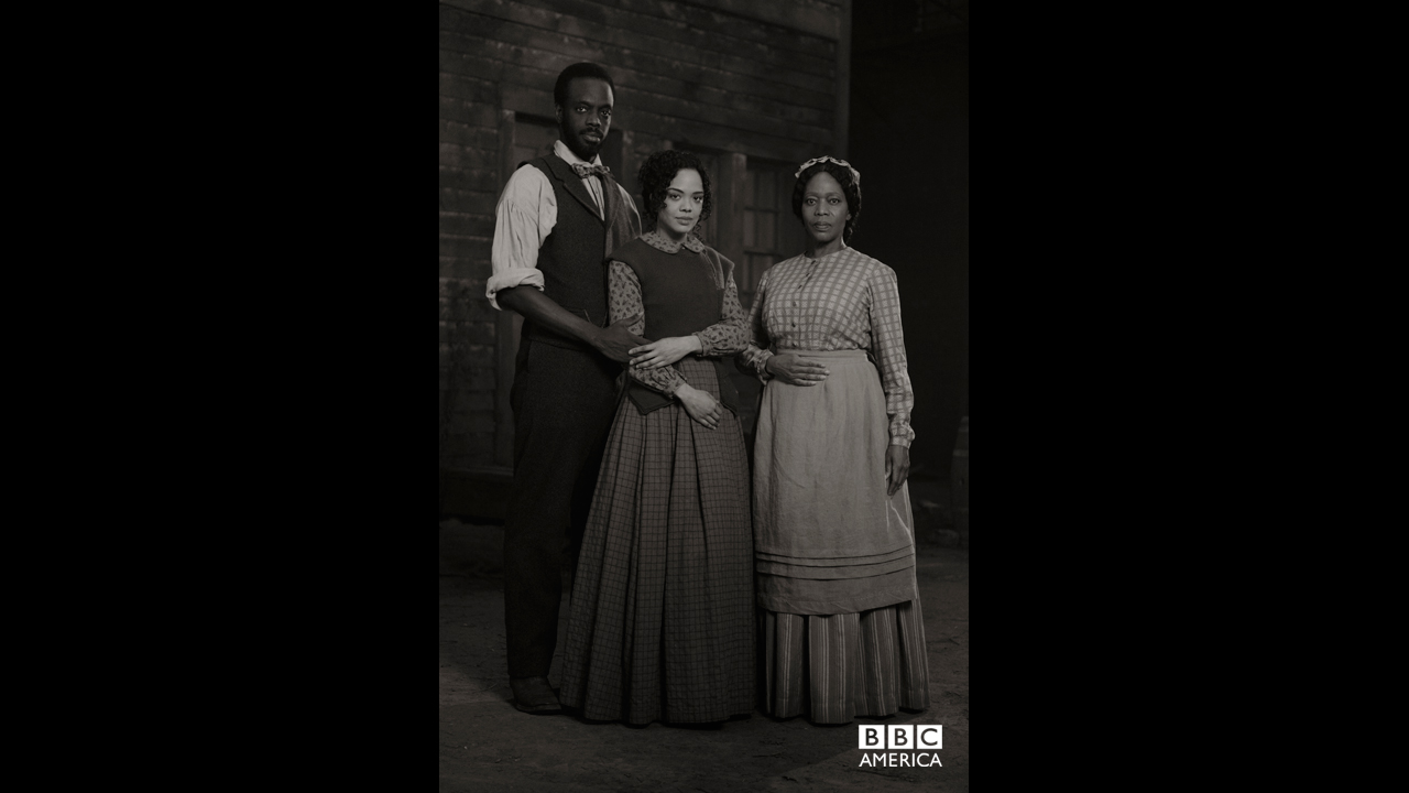 Doctor Matthew Freeman and his wife, Sara Freeman, played by Ato Essandoh and Tessa Thompson, with Five Points newcomer, Hattie Lemaster, played by Alfre Woodard.