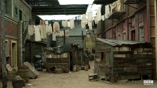 "Recreating Five Points, New York City is no small undertaking, but production designer John Blackie embraced the opportunity. ""I love doing period pictures because the challenges are just that much greater,"" says Blackie. ""The grandness of these sets are totally because of the people that built them."""