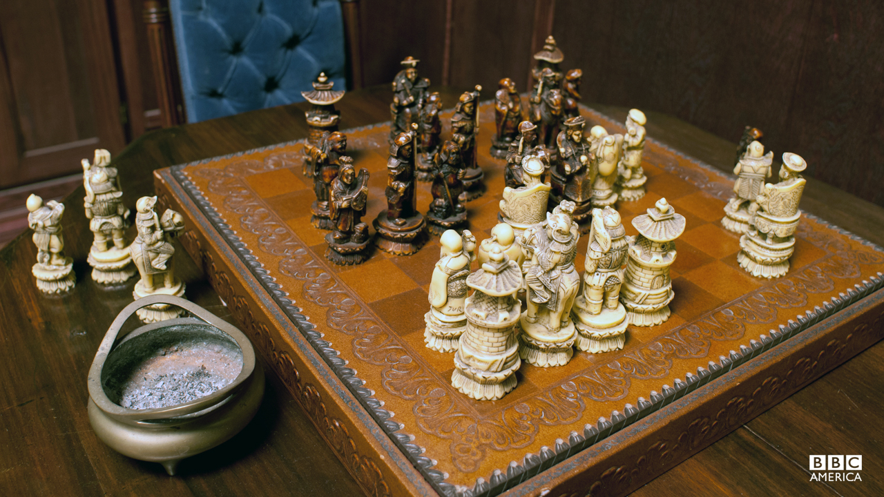 A chess set and other pricey odds and ends in Robert Morehouse's office.