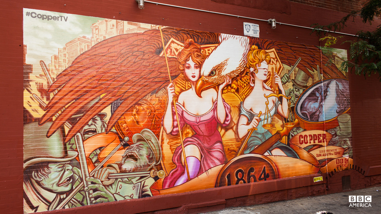 'Copper' gets some wallscape love in Brooklyn! Get an up-close look at the 1864-inspired New York street mural, designed by artist Collabros.