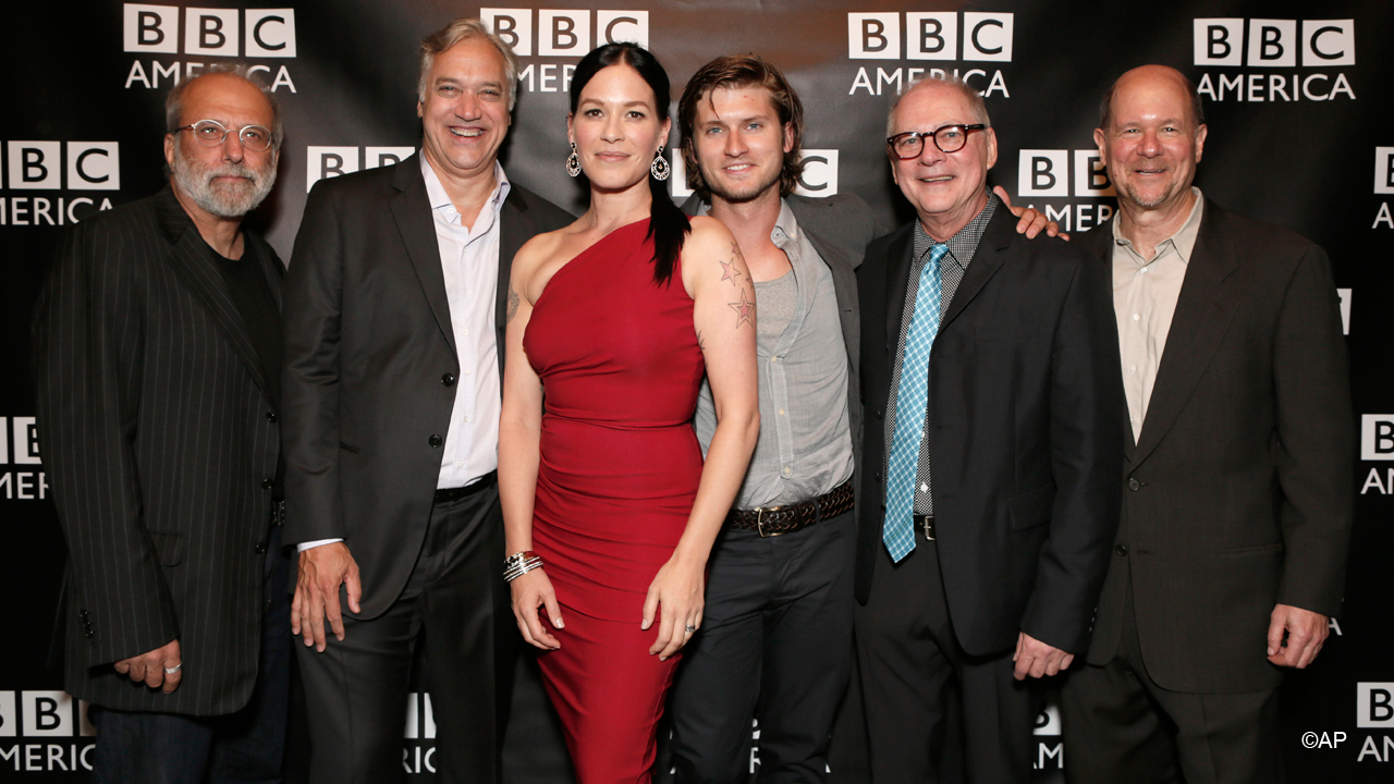Lady in red Franka Potente steps out with 'Copper' co-creator Tom Fontana, BBC Worldwide America President Herb Scannell, co-star Tom Weston-Jones, executive producer Barry Levinson and BBC America General Manager Perry Simon.