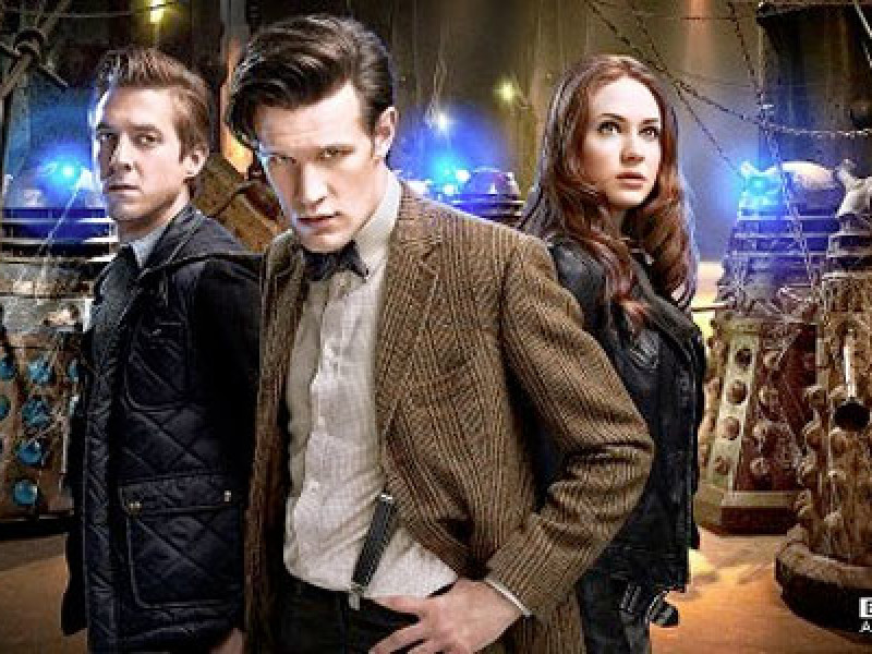 Rory, the Doctor, Amy and the Daleks
