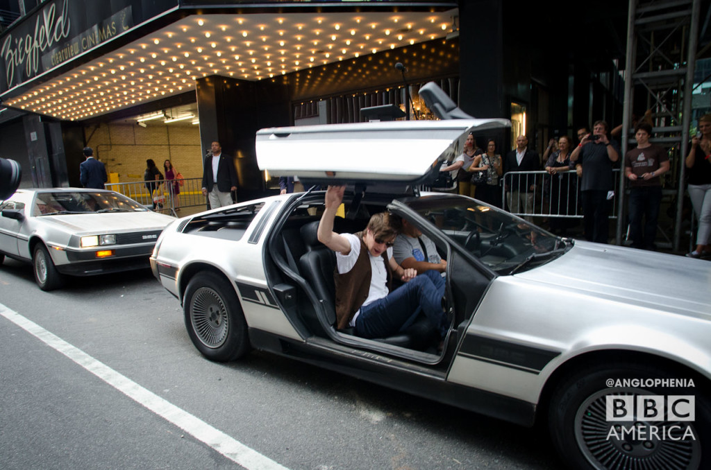 Matt Smith arrives at the Ziegfeld Theater... in a Delorean. (Photo: Dave Gustav Anderson)