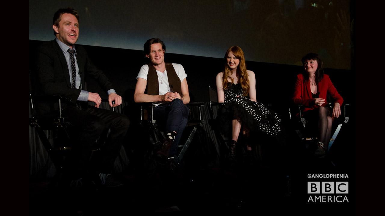 Chris Hardwick of 'The Nerdist' moderates a Q&A with Matt Smith, Karen Gillan and 'Doctor Who' executive producer Caroline Skinner. (Photo: Dave Gustav Anderson)