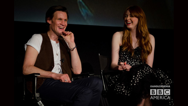 Matt Smith and Karen Gillan share a laugh during the Q&A portion. (Photo: Dave Gustav Anderson)