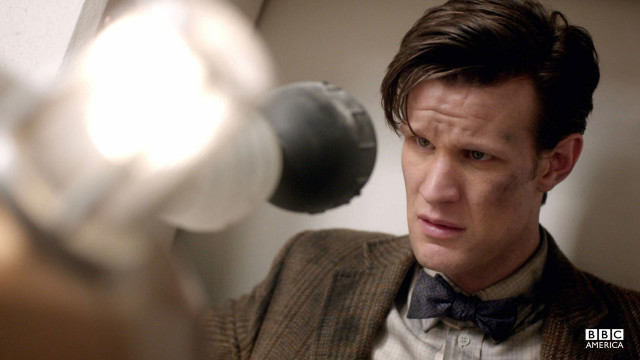The Doctor braces himself for a Dalek attack.