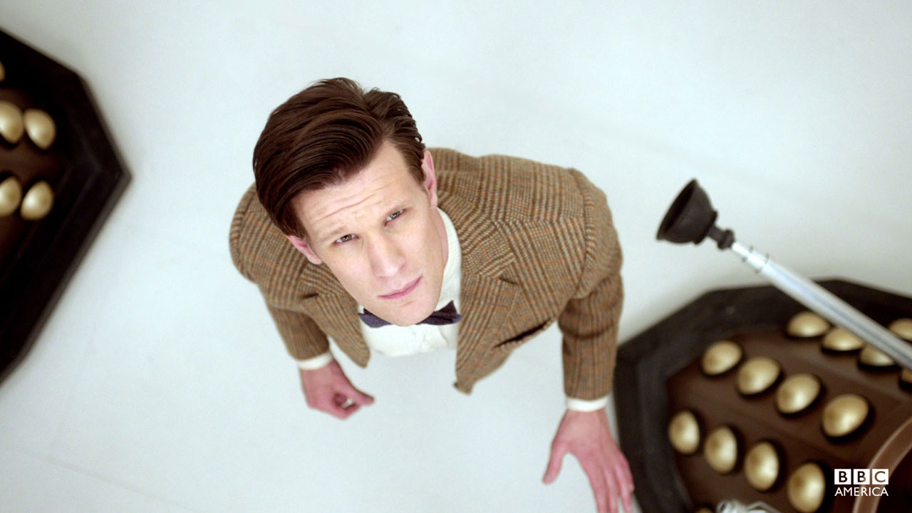 The Doctor looks upwards.