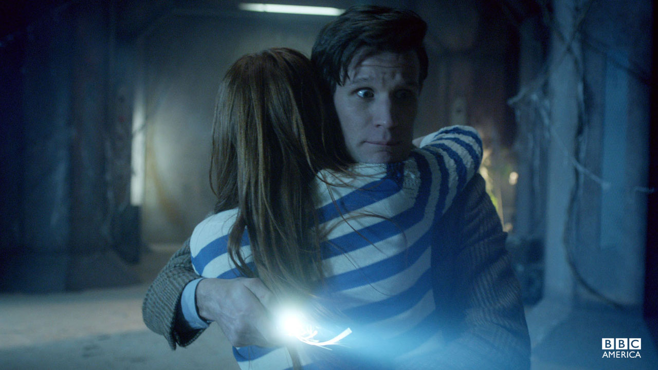 The Doctor and Amy embrace.