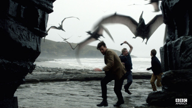 Pterodactyls prey on the Doctor and his companions.