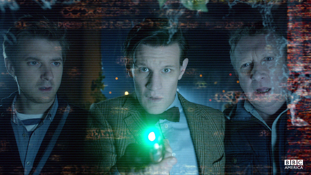 The Doctor uses his sonic screwdriver.