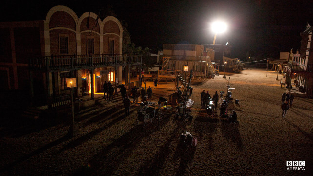 Night filming of 'A Town Called Mercy.'