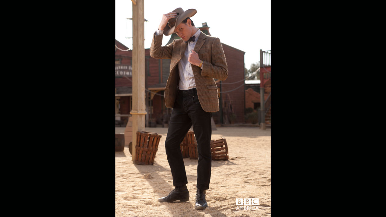 The Doctor striking his best cowboy pose.