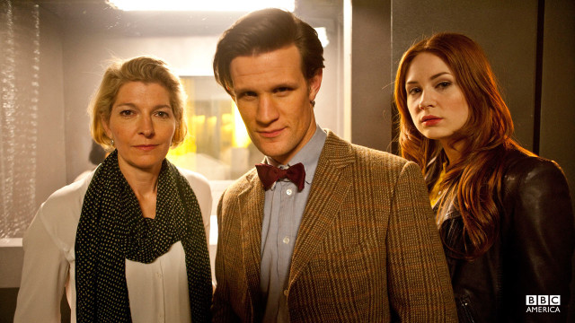 The Doctor, Amy, and Kate Stewart.