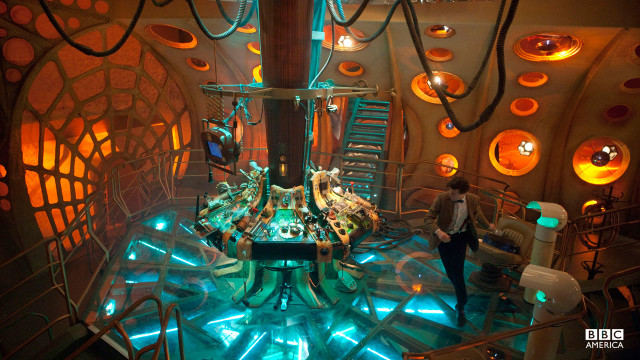 The Doctor inside of the TARDIS.