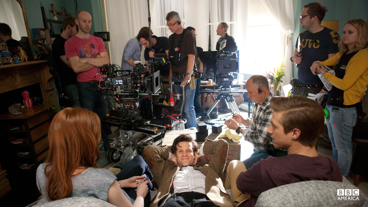 Behind the scenes filming of 'The Power of Three.'