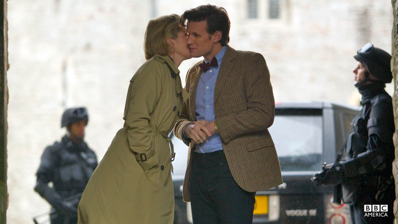 Kate Stewart gives the Doctor a kiss.