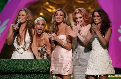 Girls Aloud at the 2009 Brit Awards. (AP Photo/John Marshall, JME)