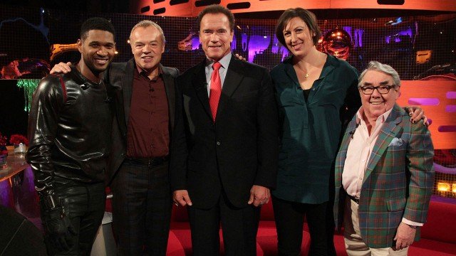 Usher, Graham Norton, Arnold Schwarzenegger, Miranda Hart and Ronnie Corbett celebrate the Season 12 premiere of 'The Graham Norton Show.'