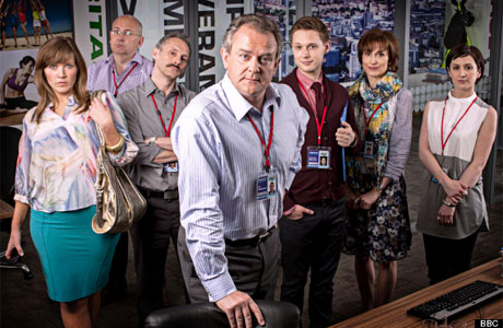 Hugh Bonneville (centre), Jessica Stephenson (left) and the cast of 'Twenty Twelve'
