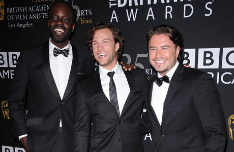 Ato Essandoh, Kyle Schmid, and Kevin Ryan from BBC AMERICA's 'Copper.' (Sipa via AP Images)