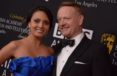 Jared Harris (right) - who appears as Ulysses S. Grant in 'Lincoln' opposite Daniel Day-Lewis - with Allegra Riggio. (Photo by Chris Pizzello/Invision/AP)