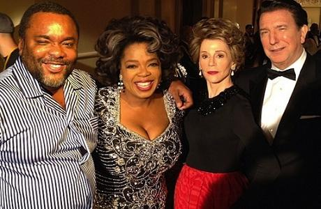 From left to right: director Lee Daniels, Oprah Winfrey, Jane Fonda as Nancy Reagan, and Alan Rickman as Ronald Reagan (via Oprah Winfrey's Twitter) in 'The Butler'.