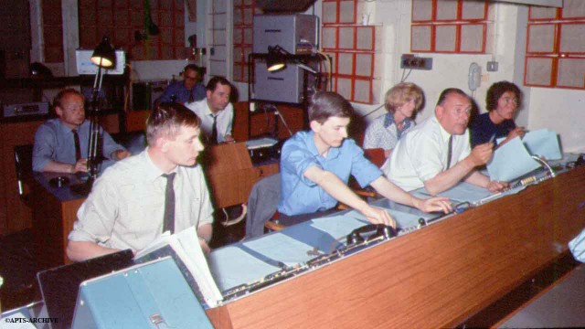 Studio B was the main news studio when Television News was based at Alexandra palace. The Director and his secretary can be seen extreme right. Vision Mixer can be seen middle foreground.