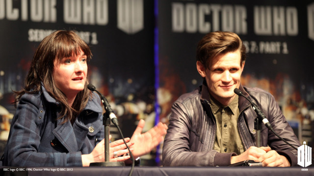 Executive Producer Caro Skinner and Matt Smith on the 'Doctor Who' panel.