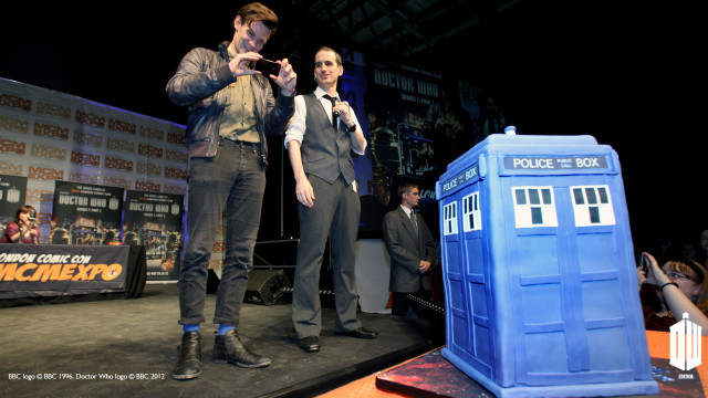 Matt gets surprised with his very own TARDIS birthday cake. What a 30th!