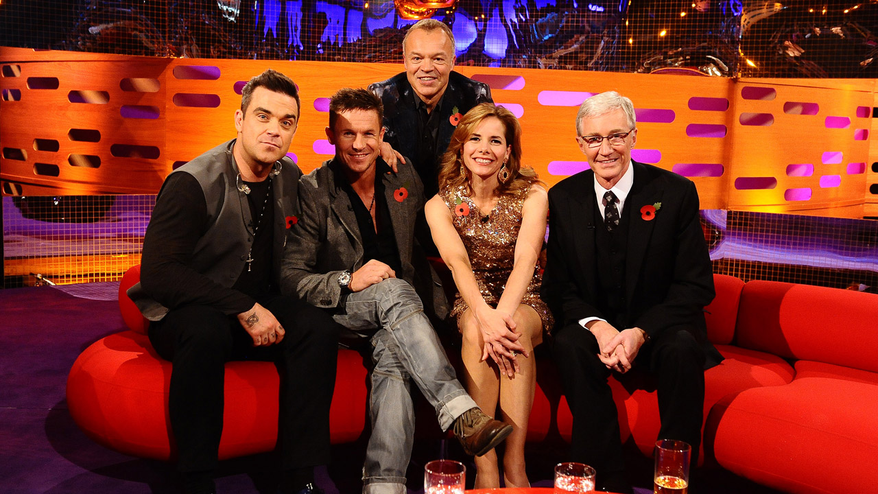 Robbie Williams, Felix Baumgartner, Darcey Bussell and Paul O'Grady pose with Graham Norton.