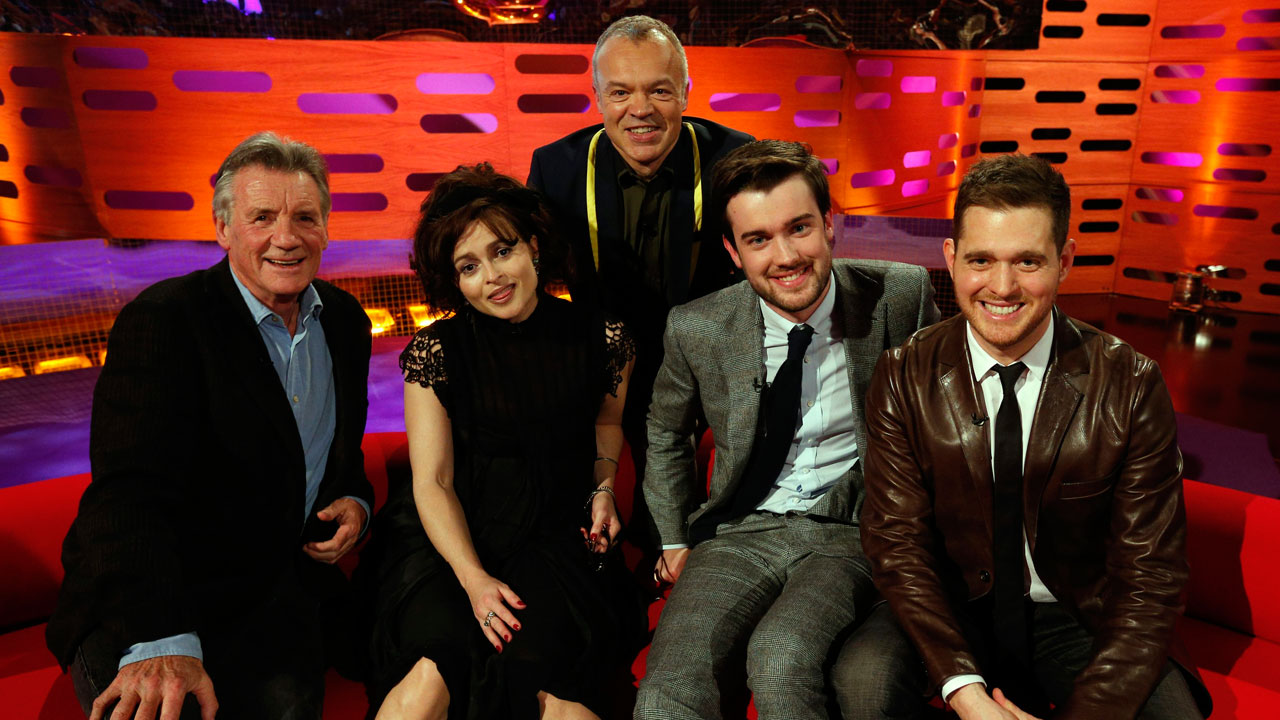 Michael Palin, Helena Bonham Carter, Jack Whitehall and Michael Bublé join Graham Norton for a photo!