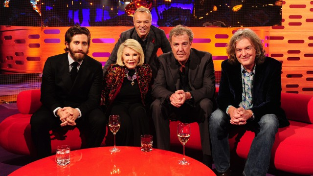 Graham poses with Jake Gyllenhaal, Joan Rivers, and 'Top Gear' presenters Jeremy Clarkson and James May.