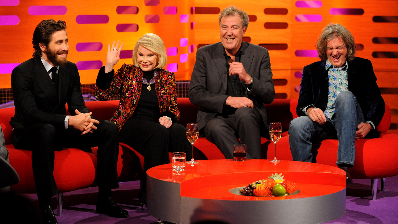 The one and only Joan Rivers has the floor, as Jake Gyllenhaal, Jeremy Clarkson and James May laugh it up.