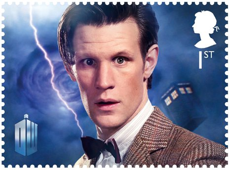 Royal Mail stamp of Matt Smith as the Eleventh Doctor