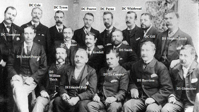 The H Division, circa 1889. Notice the real Inspector Reid (played by Matthew Macfayden) front and center.