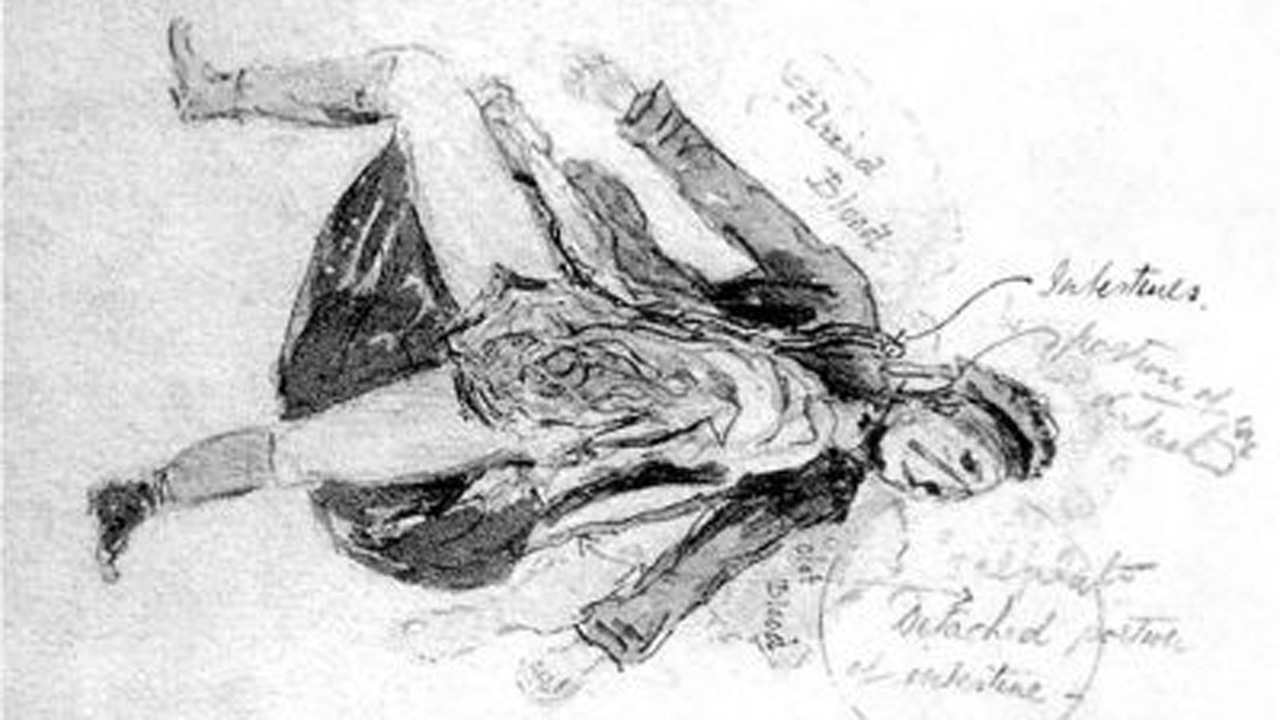 A forensics drawing of Catherine Eddowes, the Rippers supposed 5th victim.