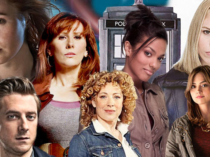 The companions: Amy, Rory, Donna, River, Martha, Rose and Clara