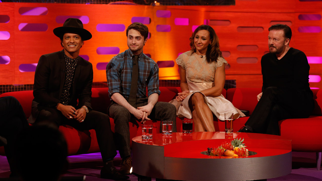 Bruno Mars, Daniel Radcliffe, Ricky Gervais, and Jessica Ennis share the couch this week!