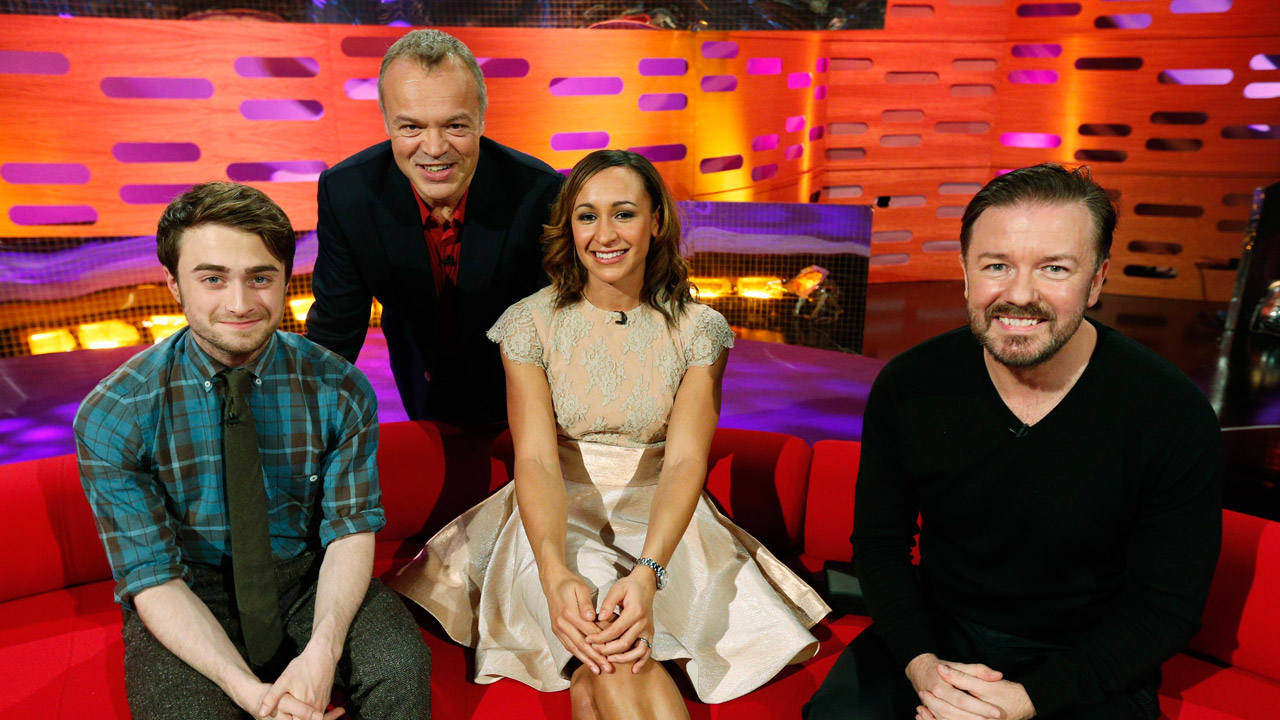Daniel Radcliffe, Jessica Ennis, and Ricky Gervais join Graham for picture.