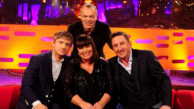 Everyone gets close for a Graham Norton-style group pose.