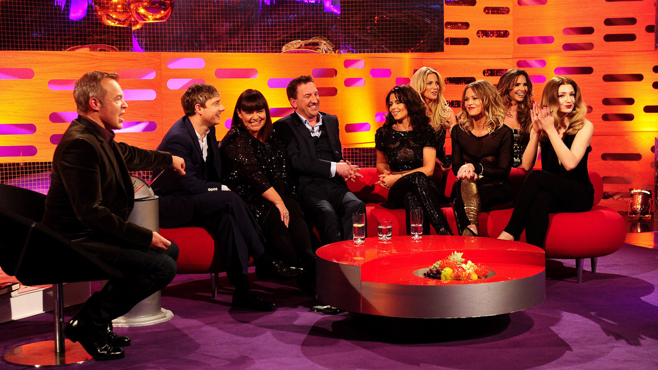 The couches are jam-packed this week as Martin Freeman, Dawn French, Lee Mack and Girls Aloud crowd the set.